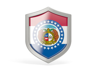 Shield icon with flag of missouri. United states local flags