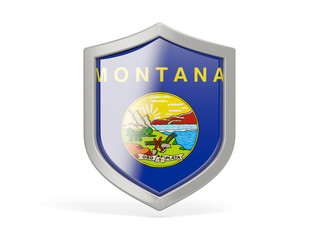 Shield icon with flag of montana. United states local flags