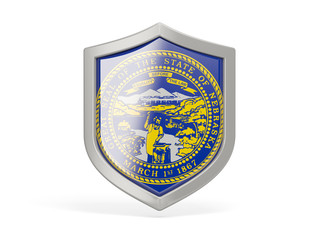 Shield icon with flag of nebraska. United states local flags