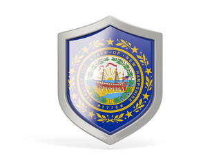 Shield icon with flag of new hampshire. United states local flags