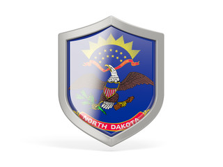 Shield icon with flag of north dakota. United states local flags