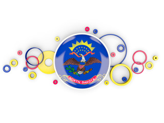 Round flag of north dakota with circles pattern. United states local flags