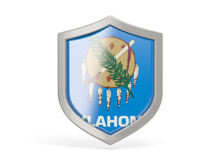 Shield icon with flag of oklahoma. United states local flags