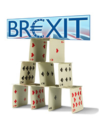 BREXIT sign with Great Britain flag background on shaky house of cards representing a fragile British economy, dangers and pitfalls of getting out of the European Union & Economic and Monetary Union.