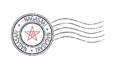 Nagasaki city grunge postal stamp