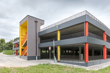 modern multi-levels parking garage with emergency external fire escape