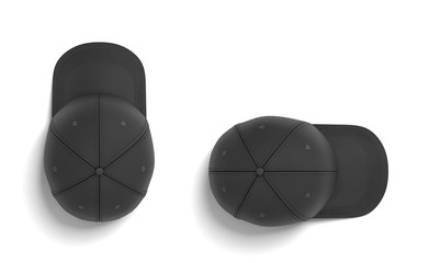 3d rendering of two black baseball caps lying on a white background horizontally and vertically in a top view.