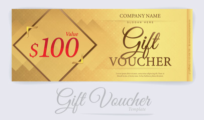 Gift voucher template with Gold background, Gift coupon, Voucher template