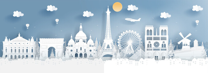 Panorama of top world famous landmark of Paris, France for travel poster and postcard, in paper cut style vector illustration. Fototapete