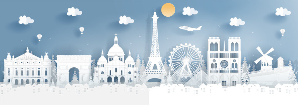 Panorama of top world famous landmark of Paris, France for travel poster and postcard, in paper cut style vector illustration.