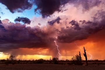 Keuken foto achterwand Chocoladebruin Dramatic sunset sky with storm clouds and lightning.