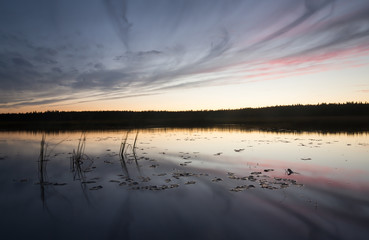 River in sweden in sunset after a late summers day