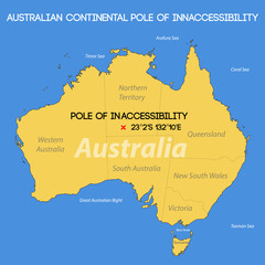Schematic vector map. Australian Pole of Inaccessibility