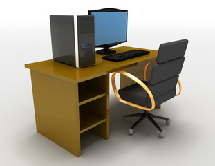 3d illustration of Computer with table . 3d rendered illustratiobn