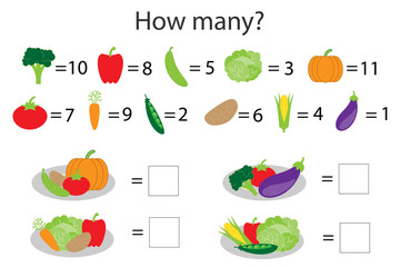 How many counting game with different vegetables for kids, educational math task for the development of logical thinking, preschool worksheet activity, count  and write the result, vector illustration