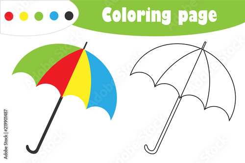 graphic regarding Umbrella Printable called Umbrella in just cartoon structure, autumn coloring web page, training