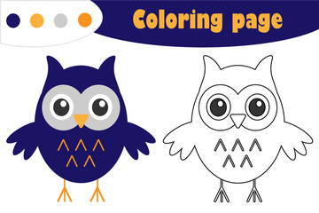 Owl in cartoon style, halloween coloring page, education paper game for the development of children, kids preschool activity, printable worksheet, vector illustration