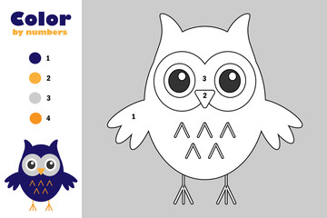 Owl in cartoon style, color by number, halloween education paper game for the development of children, coloring page, kids preschool activity, printable worksheet, vector illustration