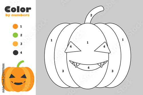 """""""Pumpkin In Cartoon Style, Color By Number, Halloween"""