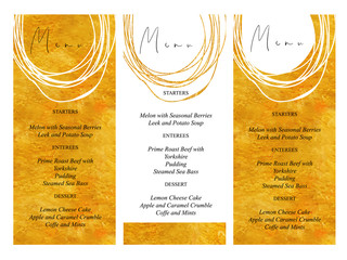 Wedding menu templates with golden hand drawn texture background and gold line design vector.