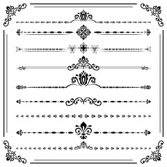 Vintage set of decorative elements. Horizontal separators in the frame. Collection of different ornaments. Classic patterns. Set of vintage black and white patterns