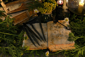 Wall Mural - Open book with magic spells, black candles and with herbs in candlelight. Mystic background with ritual esoteric objects, occult, fortune telling and Halloween concept