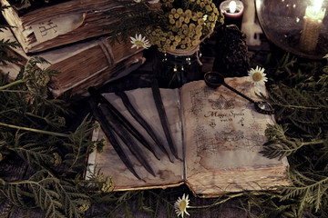 Wall Mural - Antique magic book with grunge shabby pages, herbs and black candles. Mystic background with ritual esoteric objects, occult, fortune telling and halloween concept