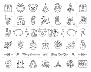 Christmas icons set, Pig icons chinese zodiac 2019. Thin line art New year icons, 2019 text design. Vector outline illustration