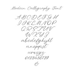 Hand drawn typeface set isolated on white. Brush painted characters: lowercase and uppercase. Vector logo font. Typography alphabet for your designs: logo, typeface, card, wedding invitation. Isolated