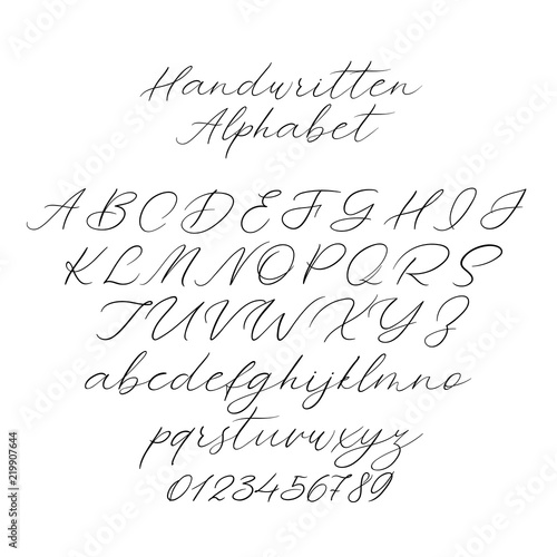 hand drawn typeface set isolated on white brush painted characters