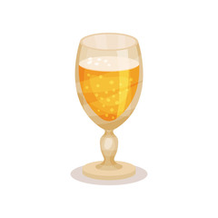 Wheat beer in glass with stem. Tasty alcoholic beverage. Flat vector element for advertising poster or banner of brewery