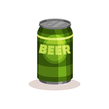 Beer in bright green aluminium can. Popular alcoholic beverage. Flat vector for advertising poster or banner