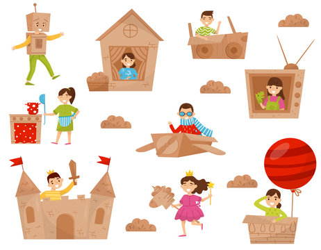 Flat vector set of happy little kids in action. Children playing in cardboard castle, house, plane and air balloon