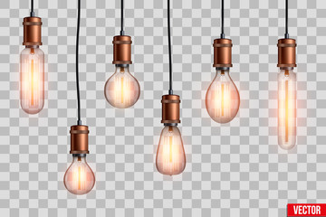 Decorative Retro design edison light bulb set. Lamps of different shapes. Vintage and antique style with copper. For loft and cafe. Vector Illustration isolated on transparent background.