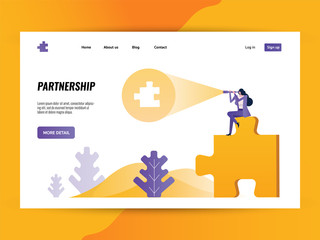 Business woman using binocular finding another puzzle piece. Website landing page Template. vector