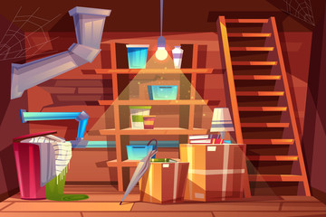 Fototapeta Vector cellar interior, storage of clothing inside the basement in cartoon style. Storeroom with shelves, furniture, pipeline. Illuminated by light of lamp bulb. Architecture background of storehouse