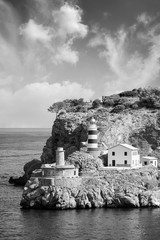 Wall Mural - Black and white picture of the lighthouse in the Port de Soller, Majorca (Mallorca), Spain.