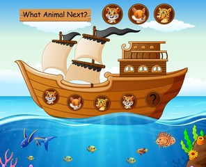 Wood boat sailing with wild animals theme