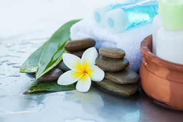 Deurstickers Spa Spa or wellness setting with cream tubes and oil bottles. Body care and spa concept