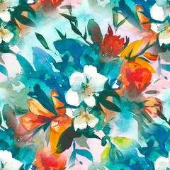 watercolour floral Seamless pattern, delicate flowers, yellow, blue and pink flowers