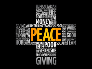 Peace cross word cloud collage, social concept background