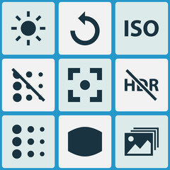 Photo icons set with center focus, wide angle, iso and other image
