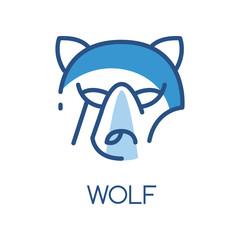 Wolf logo design, blue label, badge or emblem with head of predator vector Illustration on a white background