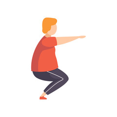 Young fat man doing squats, obesity man wearing sports uniform doing fitness exercise, weight loss program concept vector Illustration on a white background