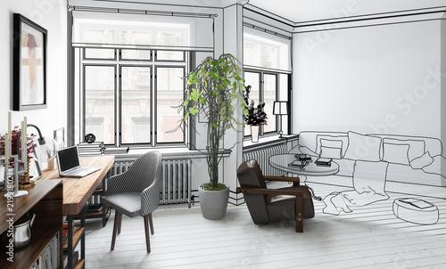 Wohnzimmer mit Einrichtung (Plan)\