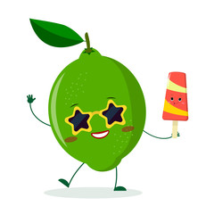 Cute lime cartoon character in sunglasses star in the hands of a colorful ice cream.