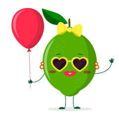 Cute lime cartoon character sunglasses hearts, bow and earrings. Holds a red air balloon.