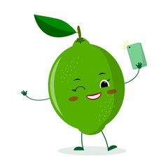 Cute lime cartoon character with a smartphone and does selfie.