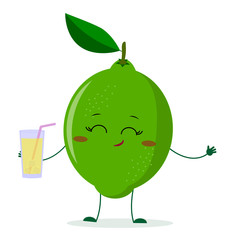 Cute lime cartoon character holding a glass with juice.