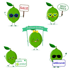 A set of five lime character in different poses in a cartoon style.